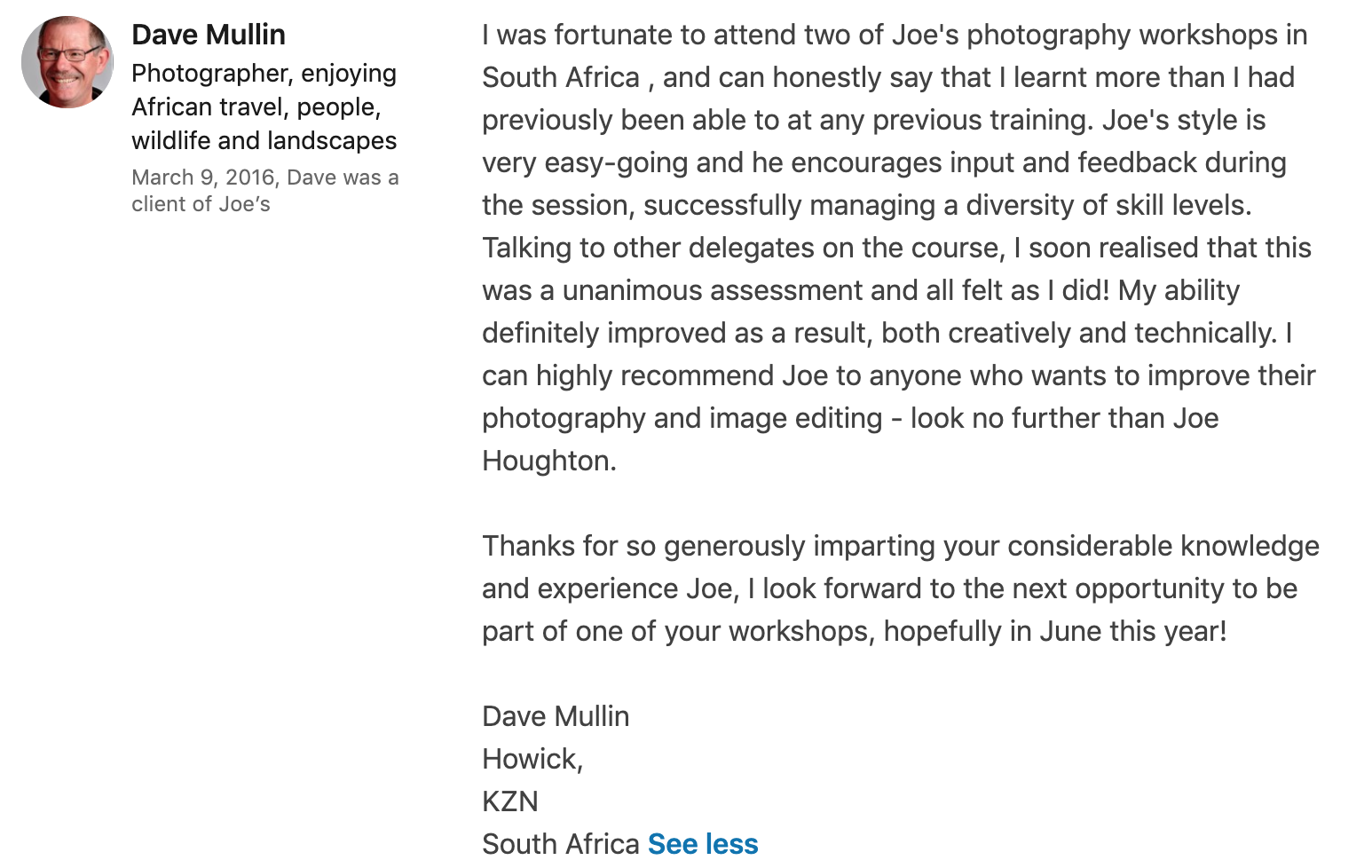 Testimonial - Dave on photography