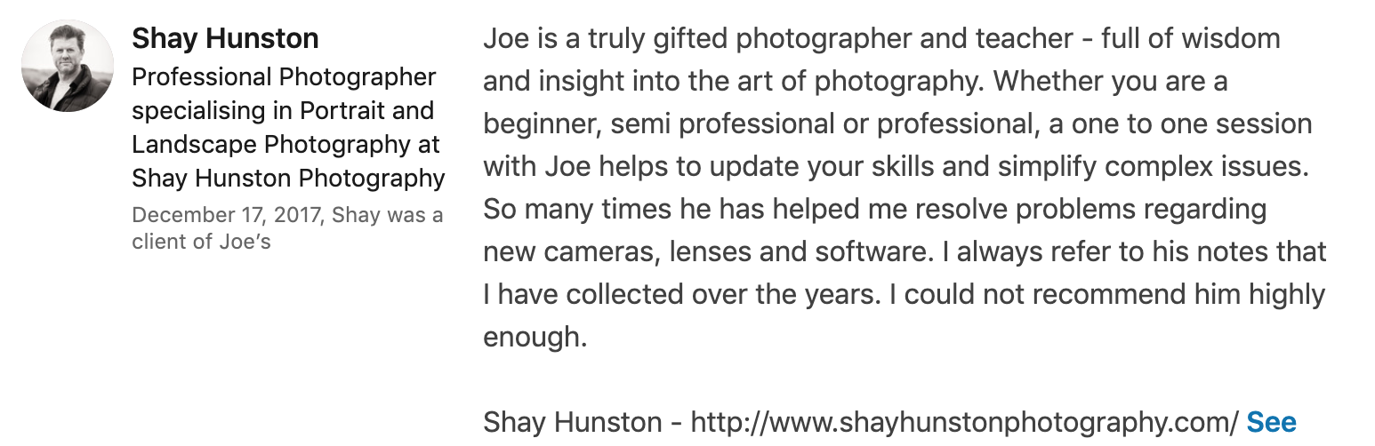 Testimonial - Shay on photography