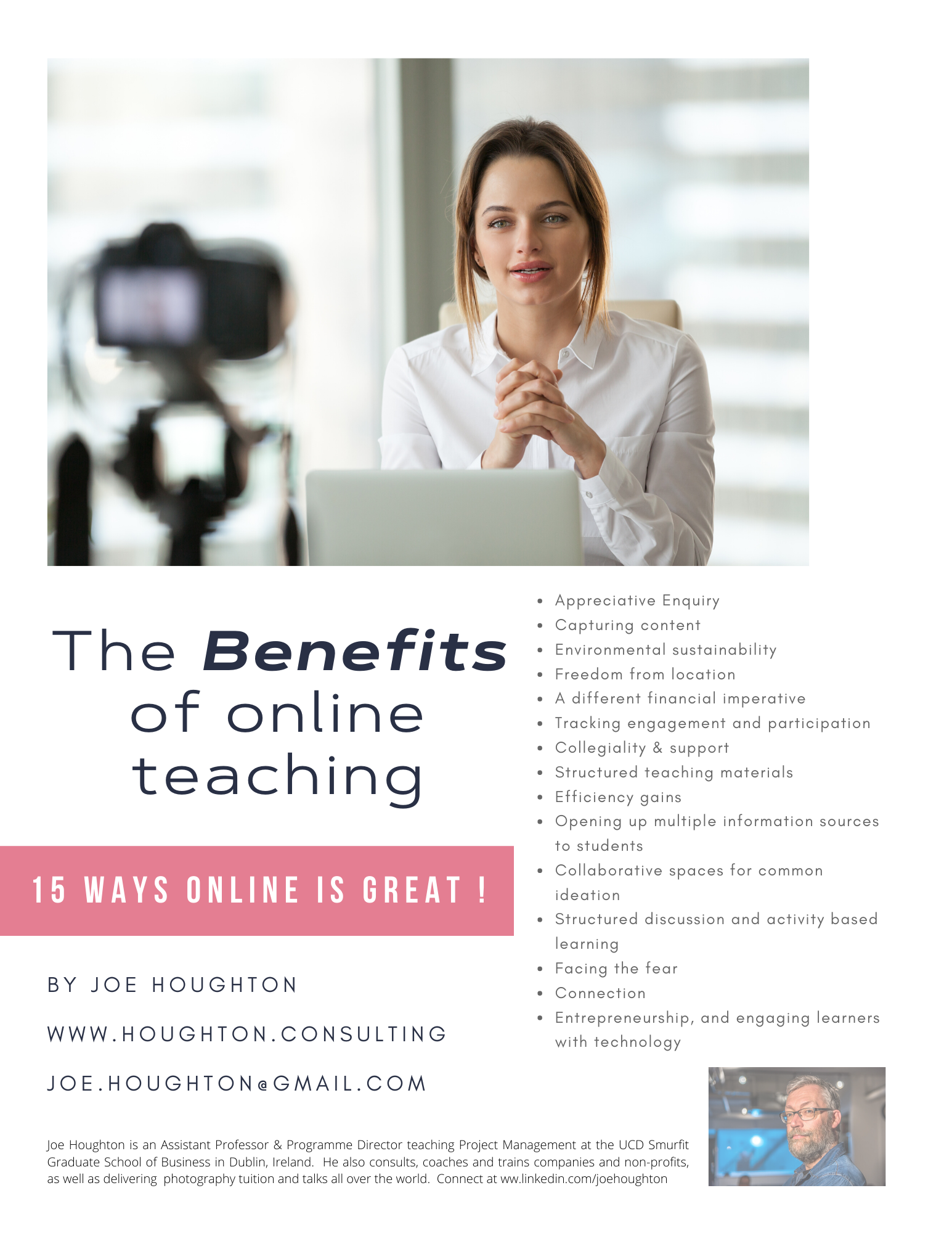 Benefits from online teaching title page